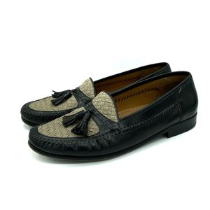 Magnanni Leather Loafer Tassel woven Black Sand